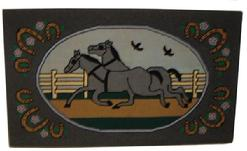 V41 Pennsylvania Amish Hooked Rug wool on burlap, oval central panel with two running horses ,possibly by Salome Stoltzfus, circa 1935