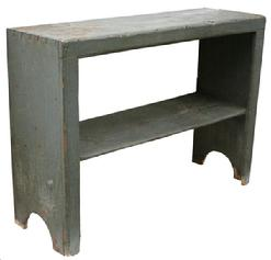 V179 Early 19th Lancaster Co.  Pennsylvania Bucket Bench, with old pewter over the original red, dovetailed top with a beaded edge around face opening, with high half circle cut out foot. circa 1800