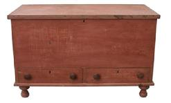 "R179 Pennslyvania Chest over two dovetailed drawers, the case is dovetailed, with turned feet, all original , circa 1840 27"" tall x 43"" long x 21"" deep"