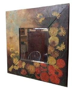 "R385 Late 19th Ccentury Original hand painted Mirror with the original beveled glass, circa 1860 Measurements are: 23"" x 23"""