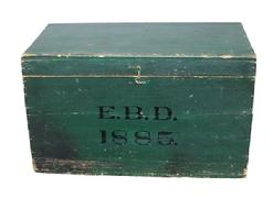 RM64 New England original green painted storage box, dated 1885. Box has a great uncleaned surface, great size for bottom of stack
