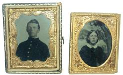 RM 76 Civil War era pair of tin types sign ed on back of case  James Clark Baltimore Maryland