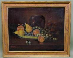 A104 �Late 19th century American Oil Painting is on stretched canvas. Depicting a Stillife of a bowl of fruit and a vase it is signed the lower left hand corner �C. H. Bracken 1912.�