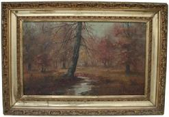 U572 Oil on canvas of woods Landscape, signed  M.D. Williams, circa 1880 15 3/$ x 22 3/4