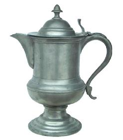 Z71 19th century American Pewter Pitcher Marked for H. Yale & Co. (Charles and Hiram Yale, Wallingford, Connecticut, 1824-1835).