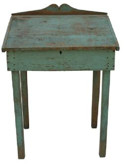 V248 Eastern Shore Maryland civil war era  Desk with original blue paint,  nailed construction