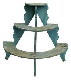 "X320 Late 19th century Pennsylvania Plant Stand, original blue paint, very unusual form the three shelves are supported by three scalloped supports. 37 1/2"" wide x 35"" tall x 20"" deep"