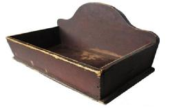 X377 Early 19th century New England Table top Box with the original unclean dry red paint, America, open rectangular box with arched back on rectangular box with canted sides Image Properties