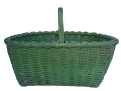 Y132 Late 19th century Gathering Basket with the original  green paint,with double wrapped rim, and a steamed and bent and notched handle, beautiful dry paint, One small break in bottom, very well made, heavy and tight woven.