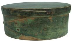 "Y99 mid-19th century. Bentwood construction having tacked lap joints Oval Pantry Box with green paint, single fingers, 2.75""high. 6.5""long"