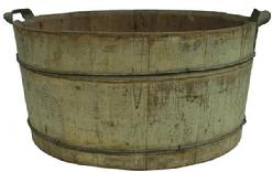 Z101 Early 19th century wooden Wash Tub, with great original dry mustard paint  Notched staved construction with metal  banding, metal handles