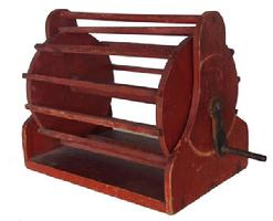 "Z331 Late 19th century wooden  game Cage with the original dry red paint  on a stand with crank turning handle,    ( please see photos ) it is all wood,  It stands overall about 15"" tall  x 12�"
