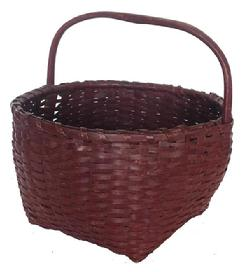 Z378 19th century New England Gathering Basket with the original red paint, single wrapped rim, steamed and bent fixed handle , open weave bottom, for ventilation,