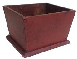 "Z450 Very rare early 19th century Pennsylvania Spit Box, with the original red paint the wood is Cheery, ,dovetailed case with nailed on bottom with square head nails, tapered sides circa 1820  Measurements are  8 1/2"" x 9 1/2"" x 6 1/2"""