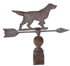 Z489 Early 20th century Bird Dog Weathervane ,metal, signed on the arrow Modern.S original weathered surfaced
