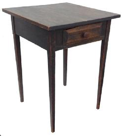 "Z525 19th century Pennsllvian Country Hepplewhite Stand with original slate gray paint , with a single drawer which is nail construction,two one board top held in place with square head nails, very fine tapered legs, the wood is white pine circa 1840 23"" wx23 1/2deep x 31"" tall"