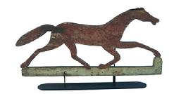 Z86 American 19th century  wooden painted running horse weathervane. Wonderful original painted surface on backside, front side has early second coat of paint.