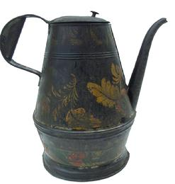W359 Late 18th century painted and decorated Toleware Coffee Pot A tapering cylindrical body with hinged lid, strap handle and curved spout and black-painted body embellished with floral decoration circa1820