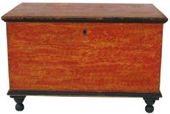 V12 Early 19th century Lancaster Pennsylvania vibrant painted Blanket Chest, signed Neil Baster, Lancaster six board chest with over size till, dovetailed case, applied black molding and turned feet