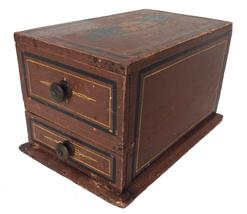 A24619th century Pennslyvania paint decorated  Sewing Box ; with two square head nailed drawers  with knobs and retaining the original red painted surface with pinstripe decoration and �WHB� painted  on top surface, 6 1/4�x 10�x 5 3/4�;