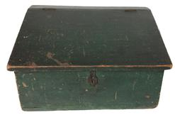 A293 19th century New Jersey Lift top Storage Box with the original green paint, with slanted lift top lid and original brass hinges.
