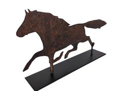 "A314 19th Century  Sheet Metal Horse Silhouette Weathervane , from Pennslyvania  with wonderful weather surface . Presented on a iron stand for displaying Measurements are: 21"" long x 12"" tall"
