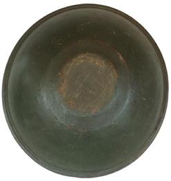 "A374 Treenware  turned wooden Bowl 1790-1820  with beautiful original green paint  Dark interior patina, old age small Splits on the rim  and some loss to the rim   7""high. 24"" diameter"