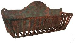 A462  Early 19th century iron window plant Wall Rack circa 1830  original green over pumpkin paint -  plant  wall rack/window box .