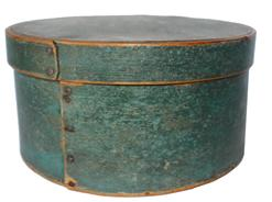 B107 19th century  blue (unclean surface)   painted round pantry box  bentwood sides, pine tops and bottoms, heavey construction  ca. 1850;