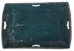 B122  19th century Apple Tray canted sides,  with square head nails construction ,original green paint on exterior and interior, heart cut out handles circa 1850