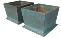 "B181 Late 19th century marching pair Planter with the original blue paint, nail constrution, form  Martinsburg Pennslyvania. Measurements are 13 3/4""  x 13 3/4"" x 10"" tall"