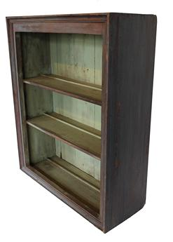 "B20 Early 19th century New England  hanging Cupboard  old red paint over the original red , picture frame molding, dovetailed case, plate rails on shelves, pit sawed back board  circa 1820 -1830 measurements are: 28 1/2"" wide x 35"" tall; x 10 1/2' deep"