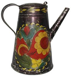 "B239 PENNSYLVANIA 19TH CENTURY TOLEWARE COFFEE POT. Polychrome floral, fruit and foliate decoration on a Japanned ground. Slightly domed lid with C-scroll reinforced handle, straight spout and tapered body.  8 3/4"" tall"