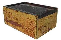 B257 19th. century Yellow Painted Slide Lid candle box The box construction is a nail construction with all the nails painted over. This small but very beautiful box shows the unpainted wood on the inside and on the back of the lid, and bottom  circa 1830-1850
