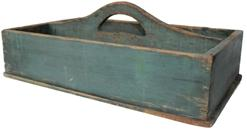 "B307 19th century Pennsylvania Carrier with the original blue paint, nail construction with square head nails, nice high divider with a cut out handle circa 1840 Measurements are 13 3/4"" wide x 21"" long x 8"" tall"