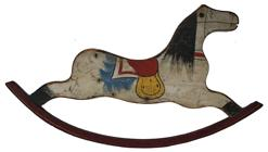 "B330 Antique Painted Wooden Rocking Horse wall hanging, this is  one side  from an early Child's rocking Horse Chair, the paint is beautiful white back ground with, blue, red and yellow and black. measurement are  38"" long x 20"" tall"