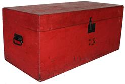 "B383  19th century New England rectangular Storage Trunk with beautiful dry red paint,  rewith  top over conforming case,with  applied interior moldings. The trunk is fitted with iron carrying handles, lock-plate and hasp are period; 15"" deep x 32 1/4"" wide x 14"" tall"