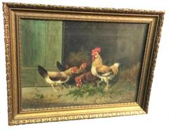 B44 19th century painting of Chickens in barn yard, oil on canvas signed by Artis J. Coste in original frame,