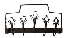 B582 18th Century Wrought Iron Utensils Rack , hand forged iron, A really nice example of early iron with curled ends, with five hooks for hanging utensils, the hooks are attached to the base with iron rivets, It is in great condition and appears to be all original circa 1770-1790