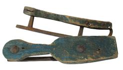 B350 18th century Wooden iron Ice Skates , with the original blue paint, beautiful iron work circa 1770