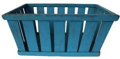 B274 Late 19th century   wooden slat gathering basket, with beautiful blue dry paint  , wooden  band tacked around outside  and inside of the top to hold slates in place,