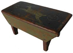 "C206 19th century Pennslyvania painted pine  stool, painted on the top of the stool is leaping deer . nice wide apron with half moon cut out on ends 7"" high x 15"" wide"