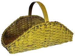 C26 Gathering Basket with the original yellow paint single wrapped rim with a steasmed and bent handle
