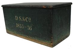"C340 Mid 19th century green painted Chest, signed on the front D.S. & Co 1855-1856 13"" high x26 1/4"" wide x 13 1/2"" deep"