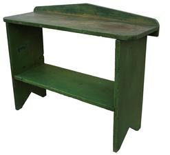 "C476 Late 19th century Pennsylvania pine Bucket Bench in early apple green paint over the original blue one board top and shelf , with bootjack cut out ends ,the shelf is mortised into the sides nice attached backsplash, all original with no restoration Measurements are: 12 1/2"" deep x 36"" wide x 28 1/4 Tall"