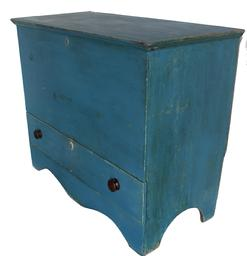"C524 Early 19th century New England Chest over a single drawer/ Mule Chest  with old blue paint, one board square head nail construction, nice high cut out feet circa 1820 - 1830 Measurements are 32"" tall x 39 1/4"" wide x 18 1/2"" deep"