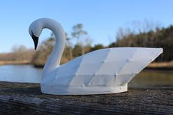 C617 Miniature white Swan by Wallace O'Neal IV of Currituck, North Carolina signed and dated Oct 1987