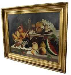 "C70  19th century oil on canvas still life of Fruit in gold gilt frame circa 1865 Measurements are; 24 1/2"" tall x 30 3/4"" "" wide"