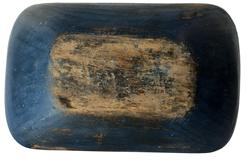 "D582 19th century  Trencher, Dough Bowl, Hand hewn Trencher Dough Bowl , original beautiful blue paint  on exterior .Inside of the bowl is natural patina dry,  5""h. 12"" x 19""."