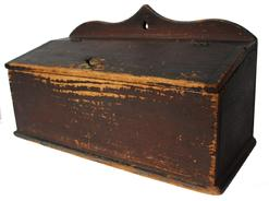 "D126 Early 19th century CT. Candle Box  with a arch back,  with the original red paint, outstanding dry surface, with the original brass knob, also brass hinges, square  nail construction, 7"" deep x 16"" wide x 9"" tall"